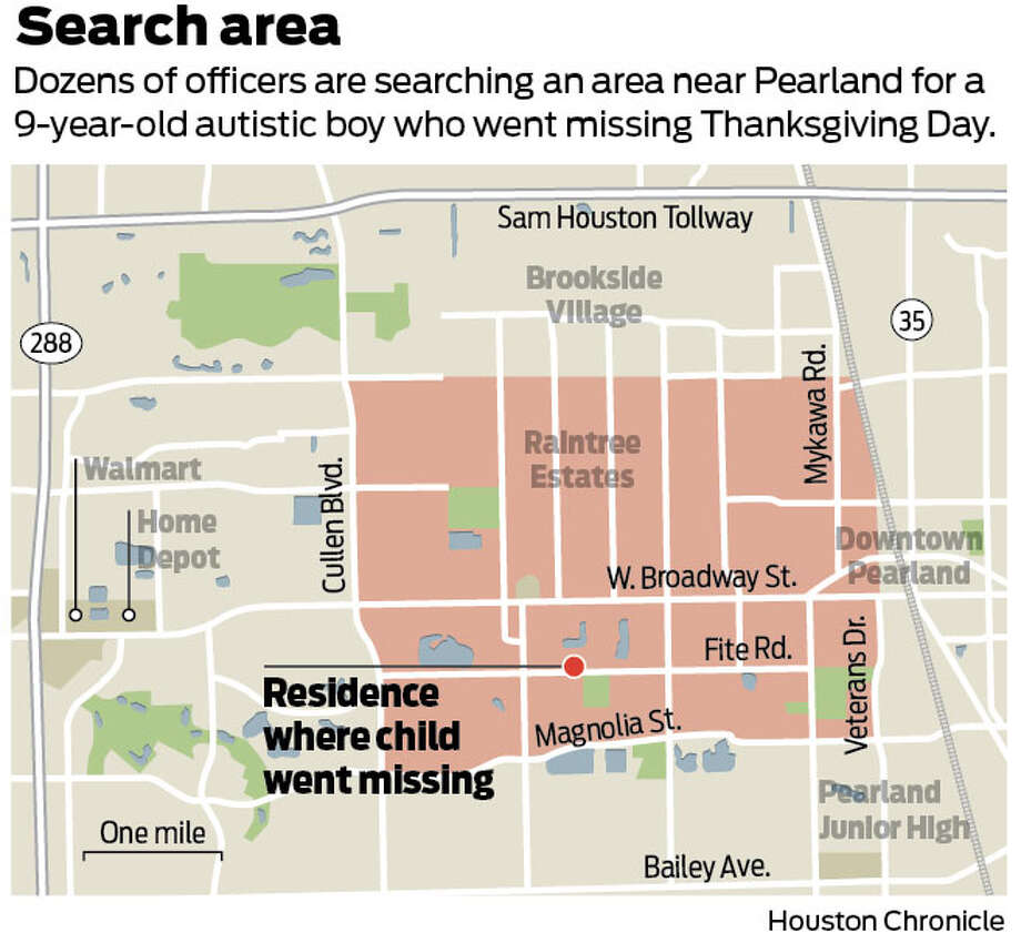 Searchers are scouring the area noted above for Marcus McGhee, a 9-year-old autistic boy who went missing.