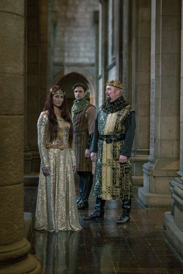 """""""Camelot""""  Leenya Rideout as Guineviere, Oliver Thornton as Lancelot, and Kevin McGuire as King Arthur  Photos by Douglas C. Liebig / Optimum Exposure Photography"""