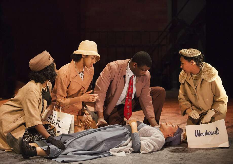 """Kehinde Koyejo (left), Jia Taylor, Khary L. Moye, Sheila Balter and Margo Hall appear in """"All Aunt Hagar's Children."""" Photo: Julie Schuchard, Word For Word At Z Space"""