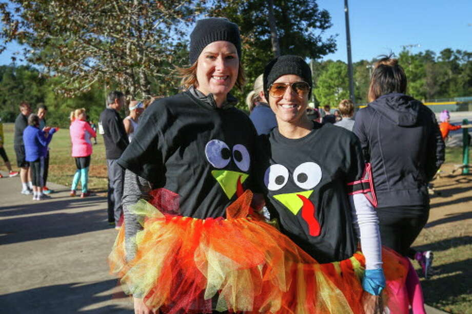 Montgomery residents Emily Ward and Sarah Jones pose for a photo at the annual Turkey Trot 5K on Saturday, Nov. 19, 2016, at Carl Barton, Jr. Park. Photo: Michael Minasi, Staff / © 2016 Houston Chronicle