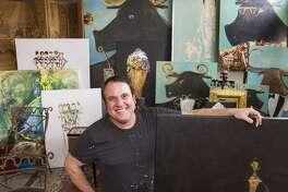 Artist Franco Mondini-Ruiz in his new studio and living space, a former tortilla factory on South Presa Street.