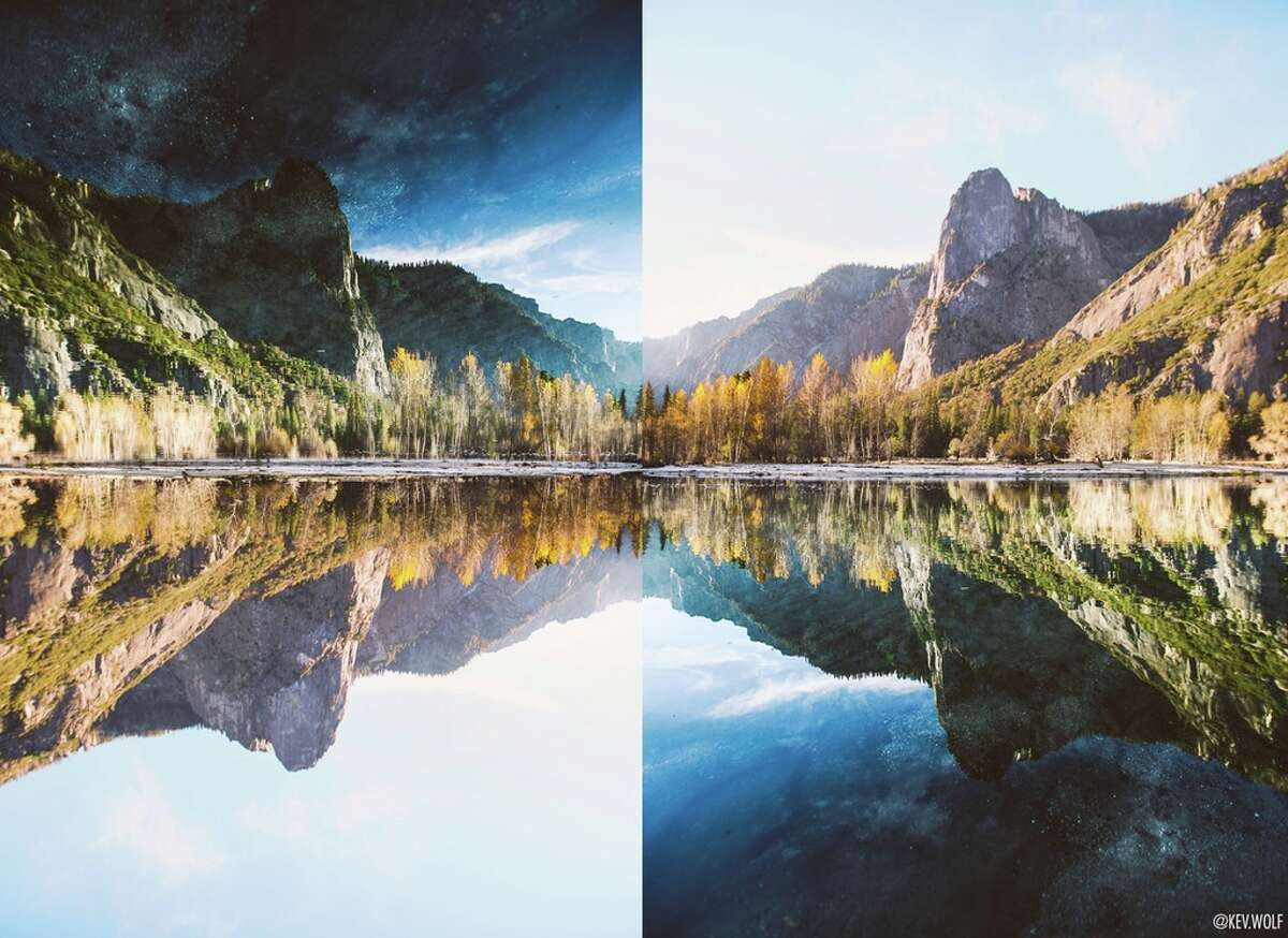 San Francisco filmmaker Kevin Wolf took a classic reflection image in Yosemite National Park and then flipped it.