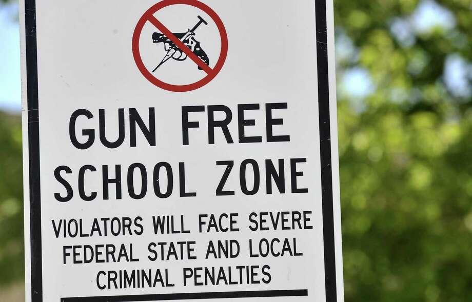 A gun free zone sign is posted at Palo Duro High School Monday, Sept. 10, 2012. Photo: Michael Schumacher / Associated Press / Amarillo Globe-News