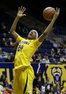California forward Courtney Range (24) grabs a rebound during the second half an NCAA college basketball game against Sacramento State in Berkeley, Calif., Wednesday, Dec. 3, 2014. (AP Photo/Jeff Chiu)