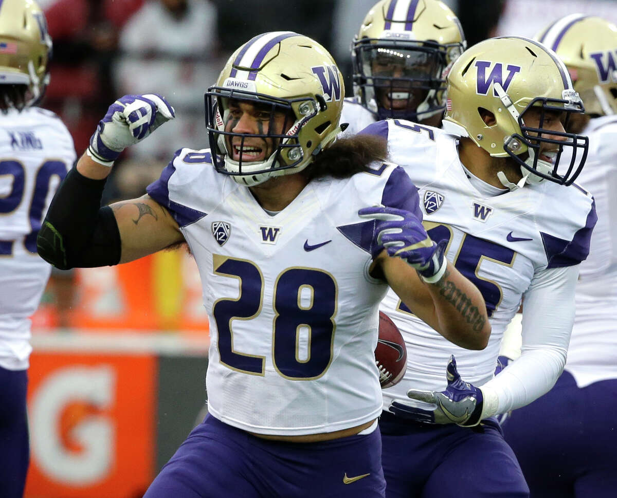 Washington linebacker Psalm Wooching (28) celebrates after Washington linebacker DJ Beavers , right, recovered a Washington State fumble in the first half of an NCAA college football game, Friday, Nov. 25, 2016, in Pullman, Wash. (AP Photo/Ted S. Warren)