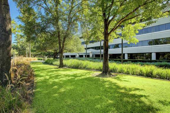 The main entry to Republic Square, a redeveolpment of the former Exxon Chemical campus at13501 Katy Freeway by Third Palm Capital. The building sits on 35 acres adjacent to Terry Hershey Park. Boxer Property is overseeing the improvements as well as leasing and management.