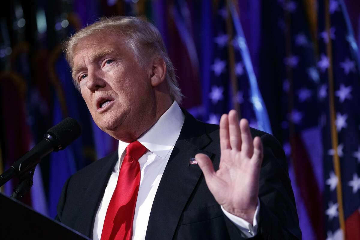 In this Nov. 9, 2016 file photo, President-elect Donald Trump speaks during an election night rally in New York. Click ahead to see some campaign platforms that Trump has since changed his mind about.