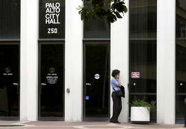 PAcops004_CH.jpg The front of Palo Alto city hall. Palo Alto cops beat up a man for not giving his name, they're in big trouble. Man on the street reaction. 7/31/03 in Palo Alto.  CHRIS HARDY / The Chronicle