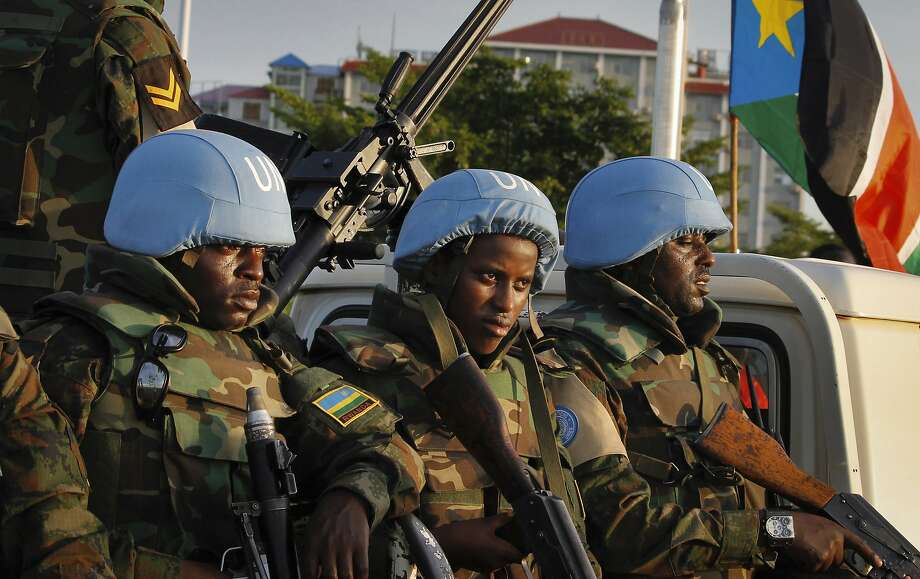 United Nations peacekeepers from Rwanda patrol in September in the capital of Juba, South Sudan. Photo: Justin Lynch, Associated Press