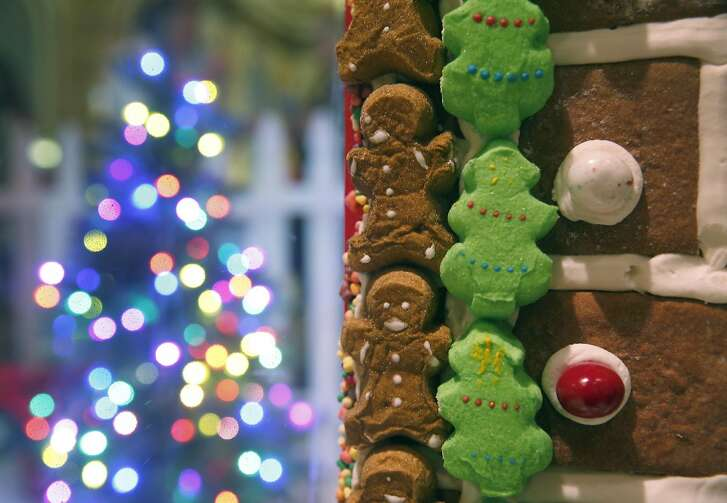The Fairmont Hotel's two-story gingerbread house opens for the holiday season in San Francisco, Calif. on Saturday, Nov. 26, 2016. The 22-foot-high house features 7,750 pieces of gingerbread, 1,500 pounds of icing and 700 pounds of candy.