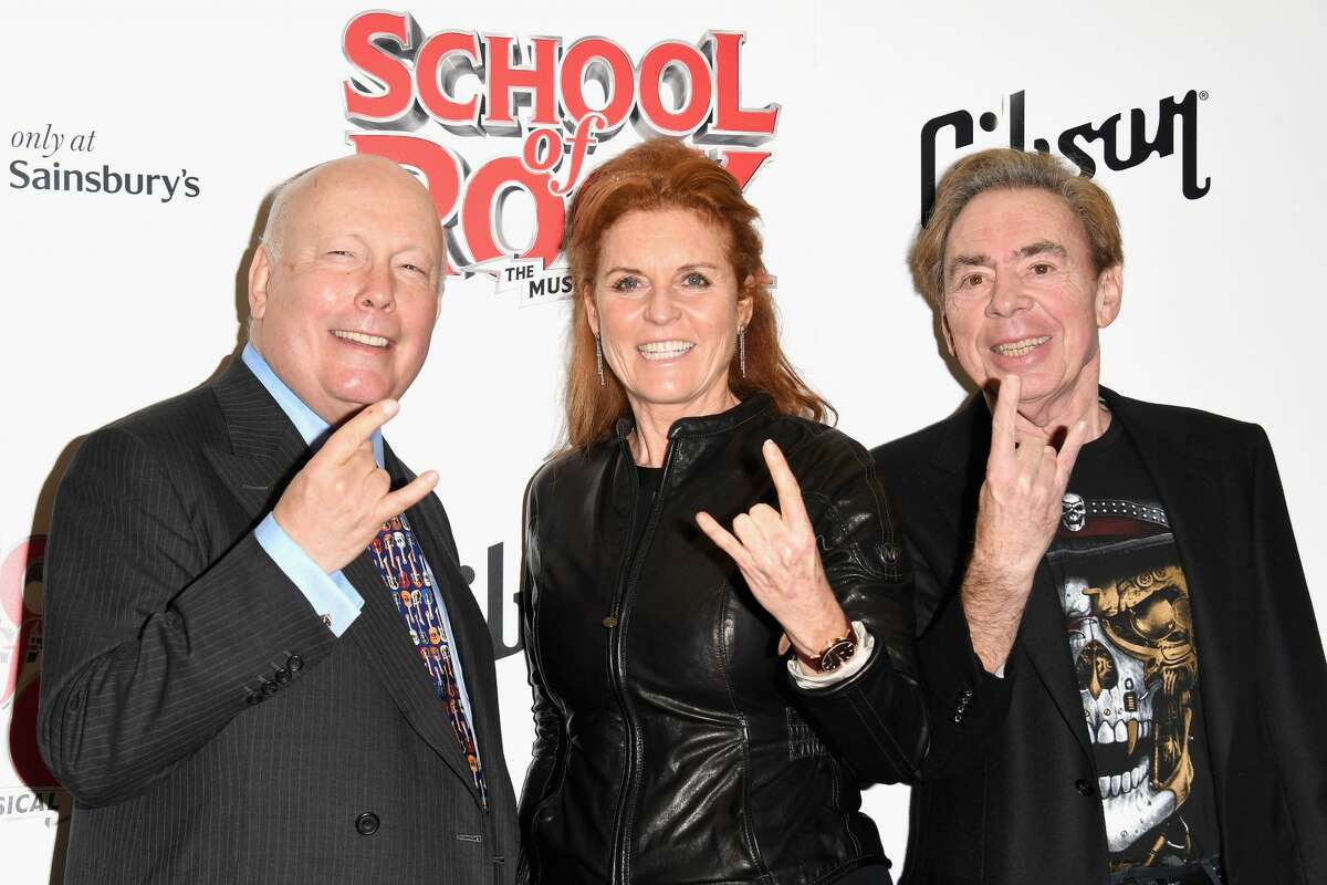 Julian Fellowes, Sarah Ferguson, Duchess of York and Andrew Lloyd Webber attend the opening night of 'School Of Rock The Musical' at the New London Theatre, Drury Lane on November 14, 2016 in London, England. (Photo by Stuart C. Wilson/Getty Images)