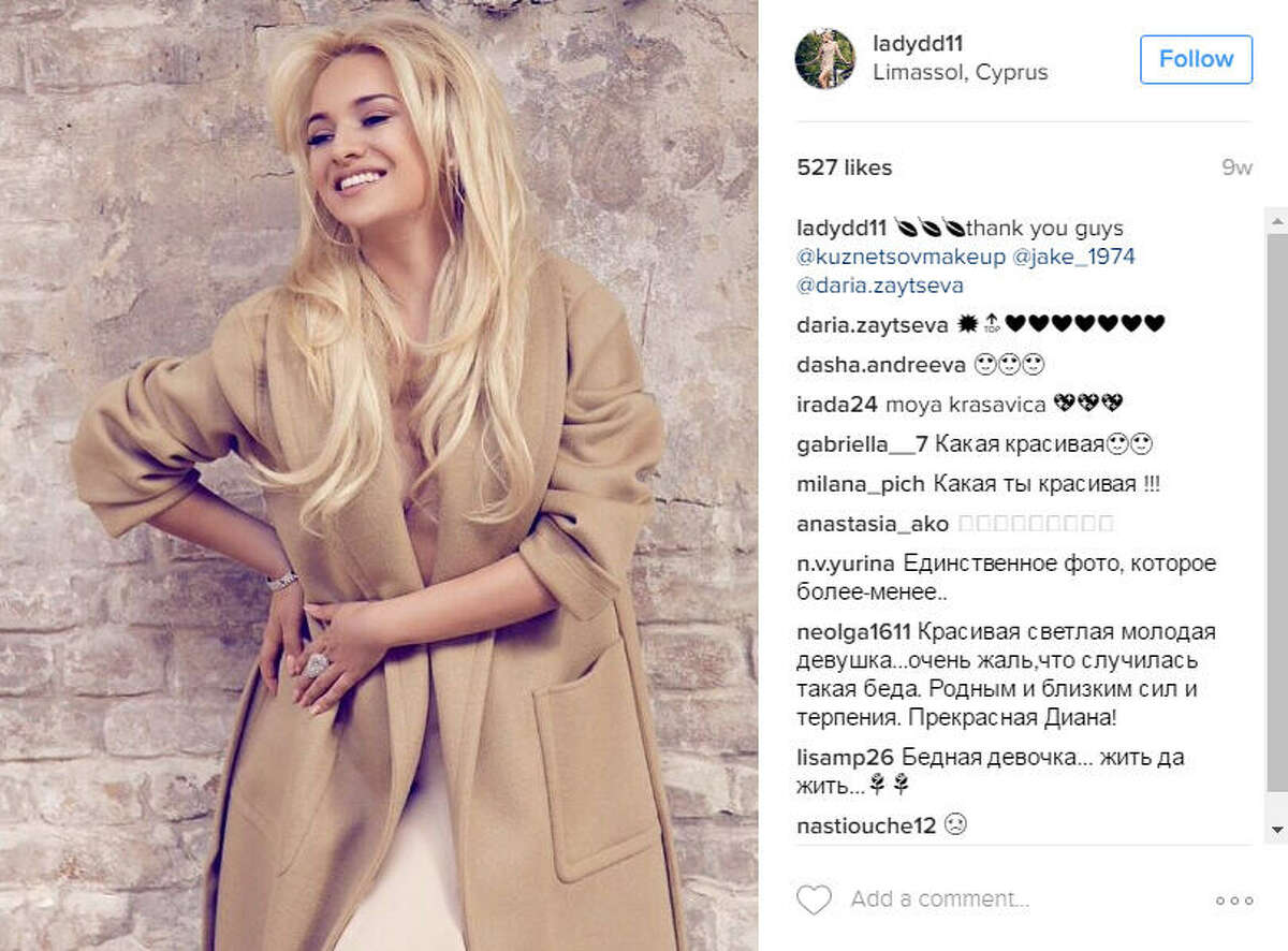 """Russian heiress, Diana Lebedeva and a friend were killed after their BMW crashed through a barrier and into a lake. Lebedeva was among Moscow's """"golden youth"""" rich kids.>>KEEP CLICKING TO SEE HOW THE """"GOLDEN YOUTH"""" SIDE LIVES.Photo: Diana Lebedeva Instagram"""