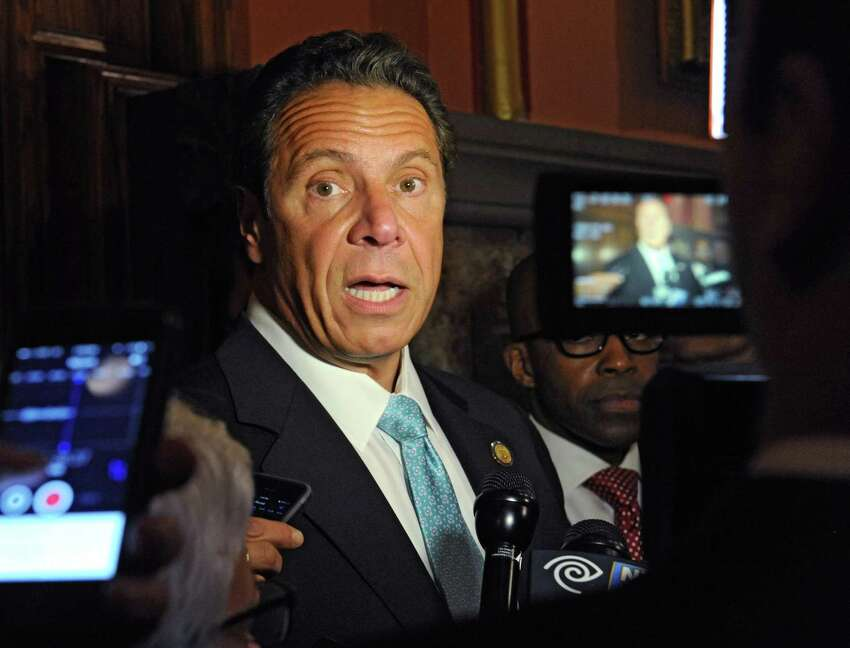 New York State Governor Andrew Cuomo talks to the press on Tuesday, May 24, 2016, outside his Capitol office in Albany, N.Y. (Lori Van Buren / Times Union archive)