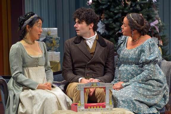 "Elizabeth Darcy (Cindy Im, left), Arthur de Bourgh (Adam McGill) and Jane Bingley (Lauren Spencer) in Marin Theatre Company's ""Miss Bennet: Christmas at Pemberley."""