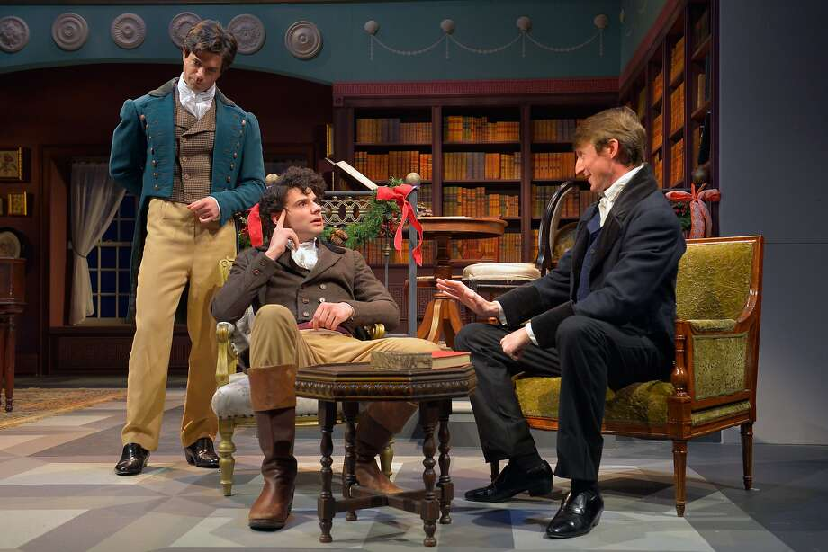 Charles Bingley (Thomas Gorrebeeck, left), Arthur de Bourgh (Adam Magill) and Fitzwilliam Darcy (Joseph Patrick O'Malley). Photo: Kevin Berne, Marin Theatre Company