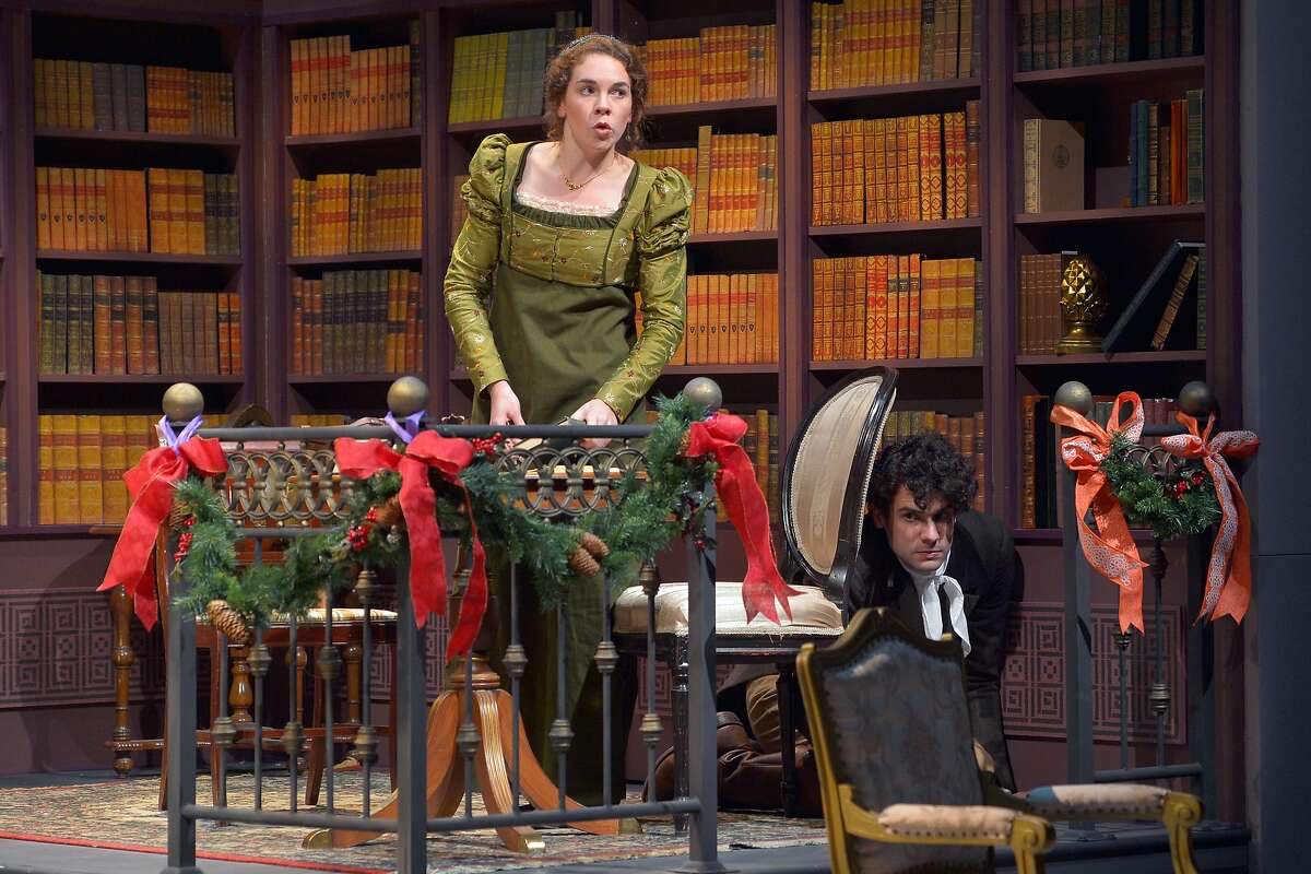"""Mary Bennet (Martha�Brigham)�and�Arthur de Bourgh (Adam McGill) in Marin Theatre Company's """"Miss Bennet: Christmas at Pemberley."""""""