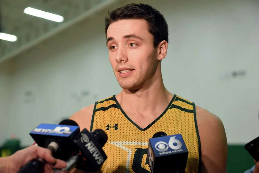 Siena's Brett Bisping talks with the media about Sunday's basketball game against crosstown rival UAlbany on Friday, Nov 25, 2016, at Siena College in Loudonville, N.Y. (Cindy Schultz / Times Union)