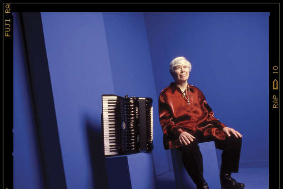 """Founder of the """"Deep Listening"""" technique, Pauline Oliveros. Credit: Mark McCarty. RESTRICTED TO ONE TIME USE. Use on A1 as tease OK. Online use OK for 7 days. MUST CREDIT."""
