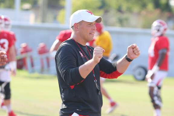University of Houston offensive line coach Derek Warehime.