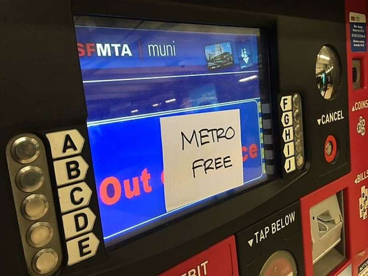 Muni ticket machines and fare gates were temporarily out of order Saturday after an apparent computer hack.