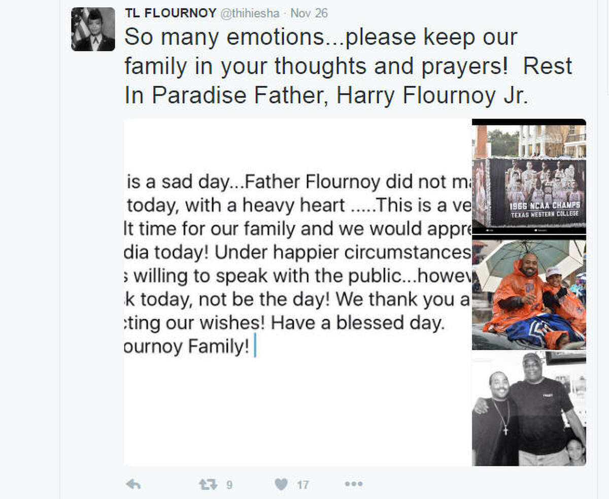 Family remembers The grandson of Harry Flournoy recalls his grandfather Saturday on Twitter the day the co-captain of the 1966 national champion Texas Western team died in Atlanta.