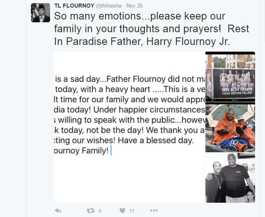 Family remembersThe grandson of Harry Flournoy recalls his grandfather Saturday on Twitter the day the co-captain of the 1966 national champion Texas Western team died in Atlanta. Photo: Twitter