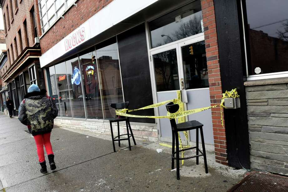 The main entrance is taped off following a shooting on Thursday, Nov 24, 2016, at Rocks in Albany, N.Y. (Cindy Schultz / Times Union) Photo: Cindy Schultz / Albany Times Union