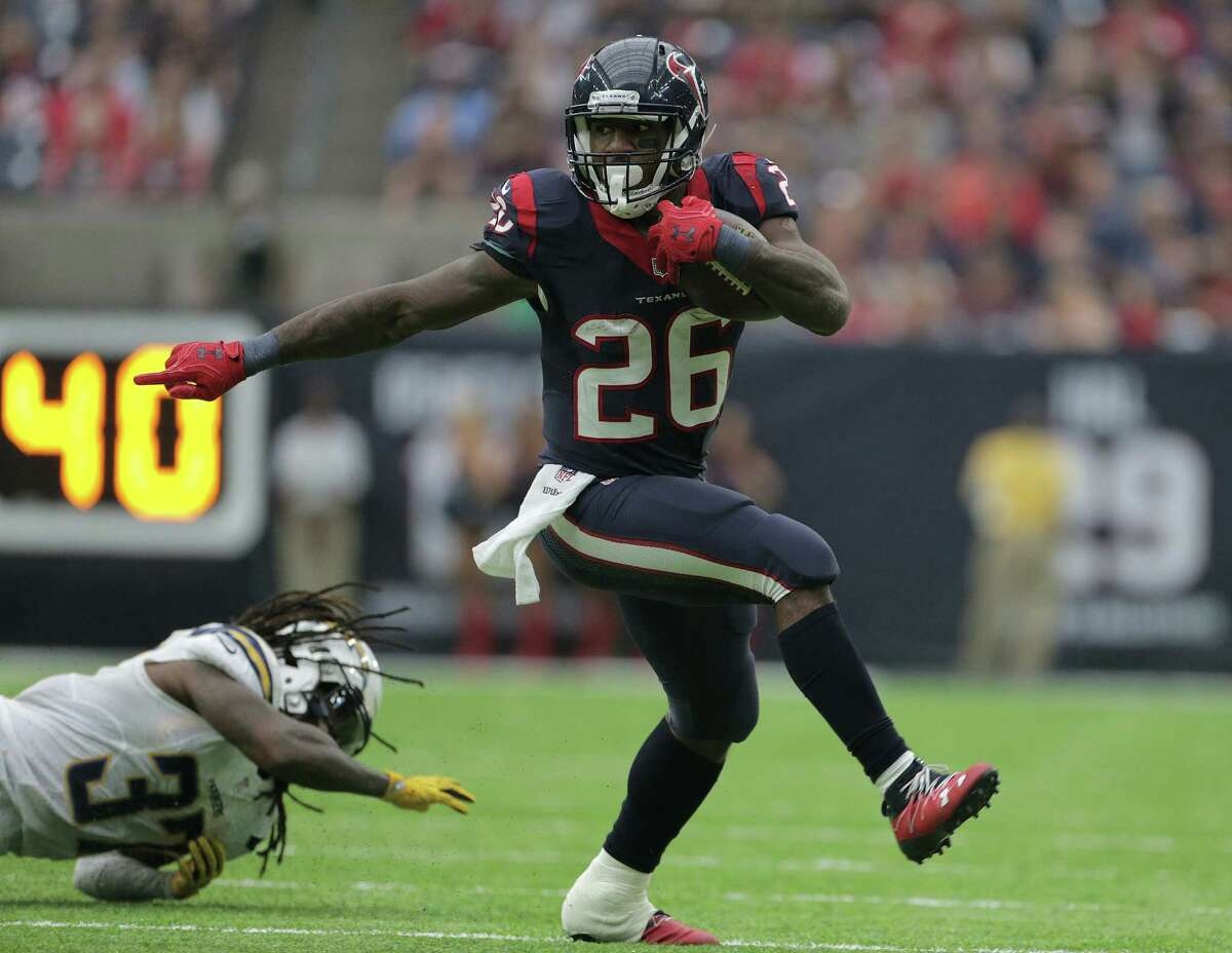 Running back Lamar Miller (above) ran for 57 yards and averaged only 3 yards a carry. His first lost fumble of the season came at the end of a 20-yard run at the Chargers' 23, which proved costly. Akeem Hunt had a 16-yard run but carried only two times. Grade: D