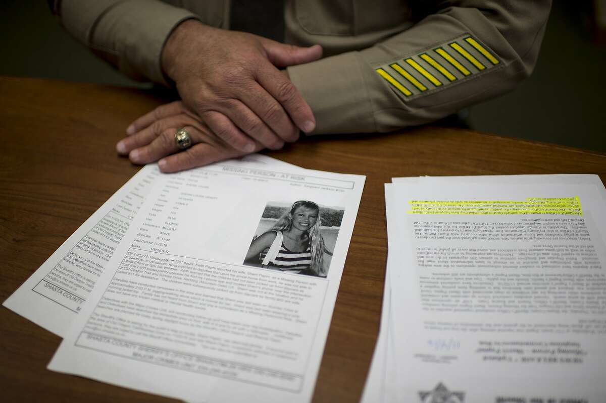 In this Thursday, Nov. 10, 2016 photo, Redding Sheriff Tom Bosenko shares case details regarding the missing persons case for Sherri Papini, 34, of Mountain Gate, in Redding, Calif. The family of the Northern California mother of two who went missing while jogging is holding out hope she will be found alive. The Sacramento Bee reports Saturday Papini has been missing since she went for a jog Nov. 2, in the tiny town of Mountain Gate in Shasta County.