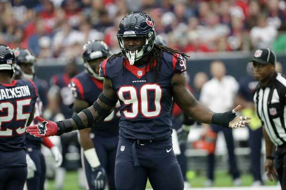 Houston Texans' Jadeveon Clowney is shown during the first half of an NFL football game Sunday, Nov. 27, 2016, in Houston. (AP Photo/David J. Phillip)