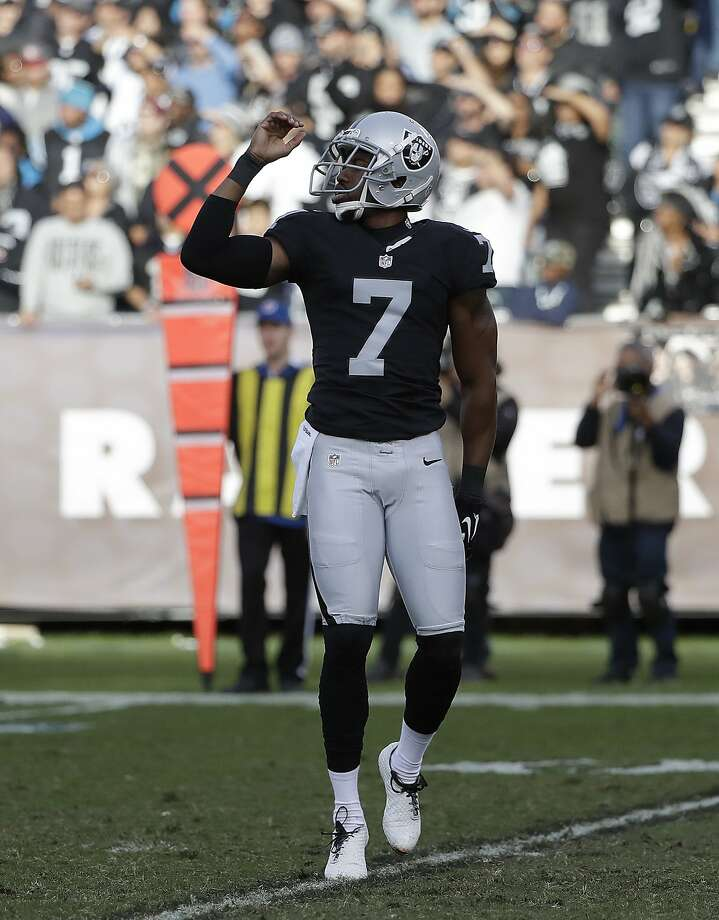 Oakland Raiders punter Marquette King (7) gestures during the second half of an NFL football game against the Carolina Panthers in Oakland, Calif., Sunday, Nov. 27, 2016. (AP Photo/Marcio Jose Sanchez) Photo: Marcio Jose Sanchez, Associated Press