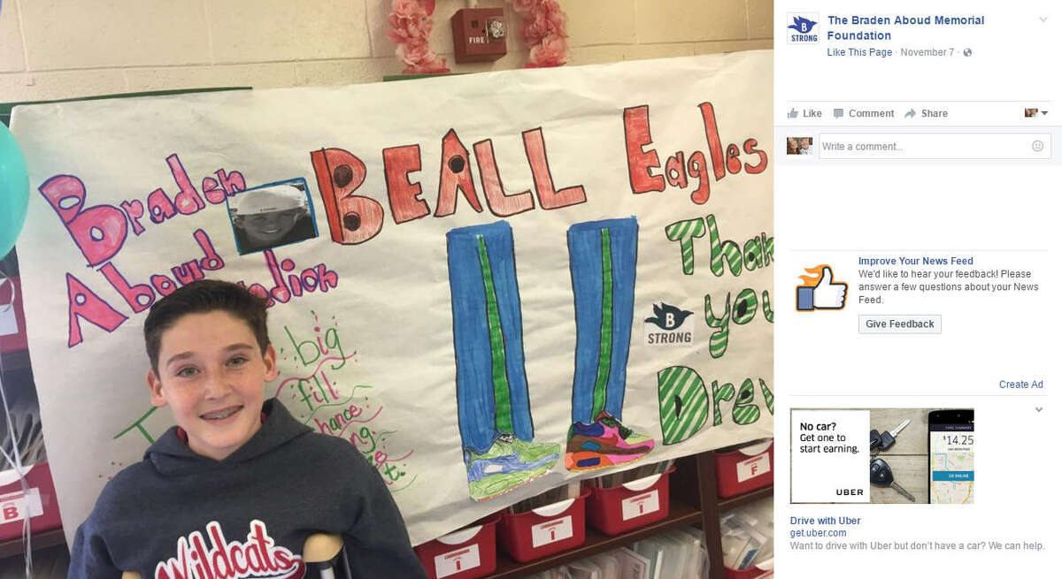 13-year-old Drew Frank used all of his bar mitzvah gift money to donate it to The Braden Aboud Memorial Foundation to give over 420 news pairs of Nike shoes to children at Beall Elementary in El Paso, Texas. Source: Facebook