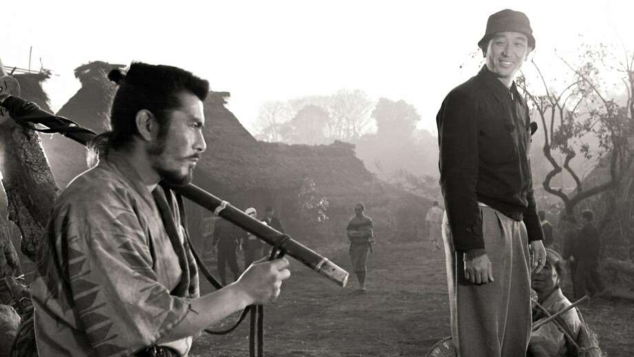 "Actor Toshiro Mifune (left) and director Akira Kurosawa on the set of ""Seven Samurai"" (1954). Photo: Strand Releasing"