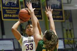 Siena's Meghan Donohue, right, defends University at Albany's Tiana-Jo Carter during a basketball game at UAlbany on Sunday, Nov. 27, 2016 in Albany, N.Y. (Lori Van Buren / Times Union)