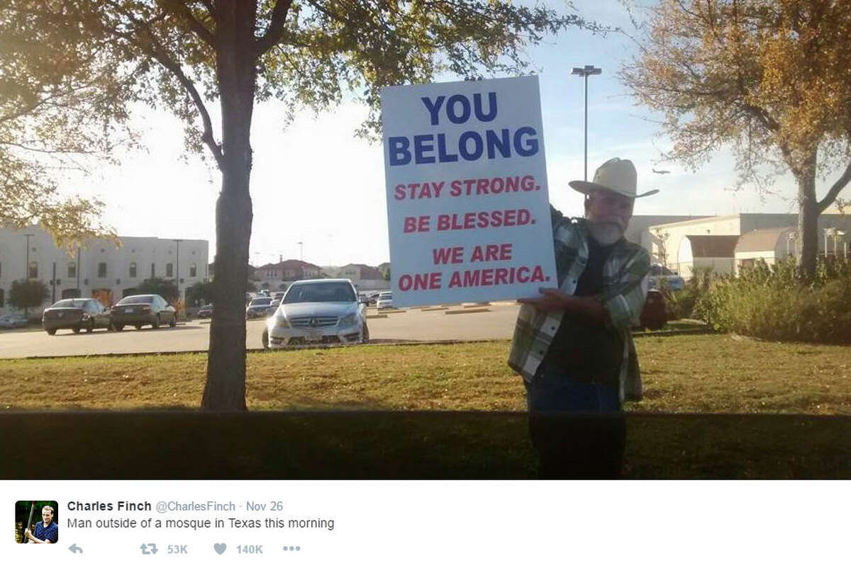A Texas man was seen holding a sign of acceptance and encouragement outside of the Islamic Center of Irving. During the 2016 presidential election, targeted violence towards Muslims because of their faith flared. Source: Twitter