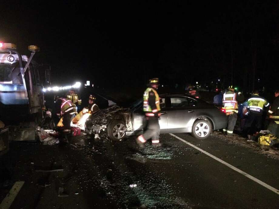 "The northbound lane of the Merritt Parkway was closed Sunday evening for an hour following a three vehicle accident between Exits 41 and 42 that sent six people to the hospital, with three suffering ""serious"" injuries, Westport firefighters said. Photo: Contributed Photos"