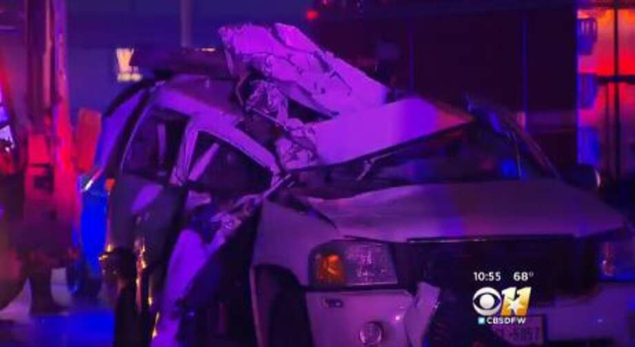 A Texas man stole a backhoe from the City of Dallas and fled onto the freeway, where he crashed into an SUV and killed a woman Sunday, according to police. Photo: CBS Dallas-Fort Worth