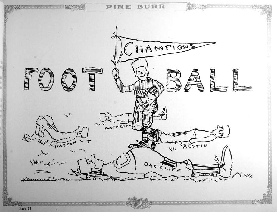 Illustration from the 1917 Beaumont High School yearbook depicting the football teams successful season including winning a self proclaimed state champion title. Image provided by the Tyrrell Historical Library Photo: Guiseppe Barranco, Photo Editor