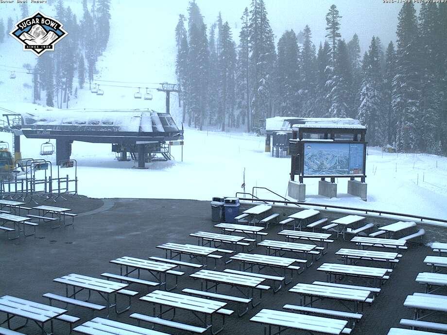 The view from Mt. Judah Lodge at Sugar Bowl on Monday morning, Nov. 28 2016. Photo: TahoeTopia.com