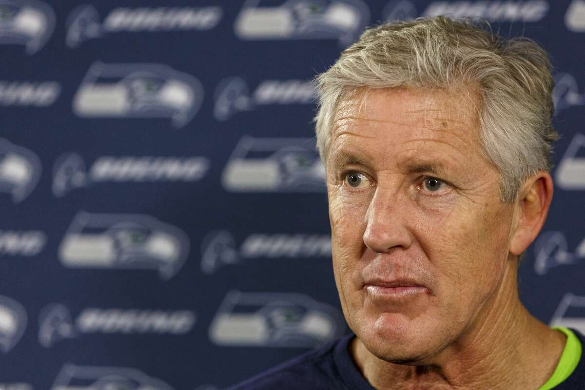 Head Coach Pete Carroll of the Seattle Seahawks talk with the media in a press conference after the game with the Tampa Bay Buccaneers at Raymond James Stadium on November 27, 2016 in Tampa, Florida. The Bucs defeated the Seahawks 14 to 5. (Photo by Don Juan Moore/Getty Images)