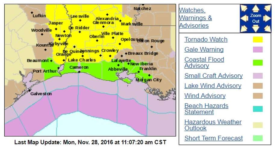 The National Weather Service issued a tornado watch for three counties in Southeast Texas on Monday. Photo: NWS