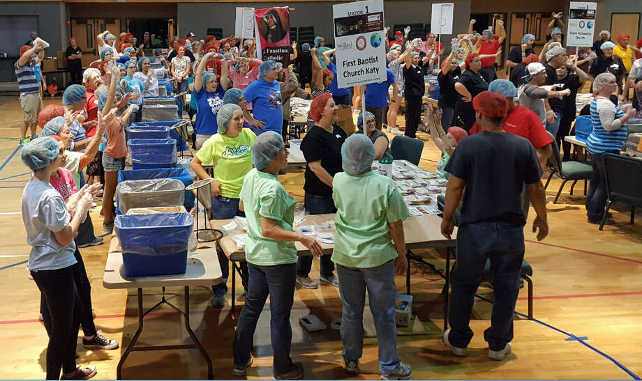 More than 2,000 volunteers packed more than 600,000 meals Nov. 17-19  to provide food for people in Katy, Kentucky and Haiti. This group of volunteers was based at Westland Baptist Church. Photo: Roy Meadows /Westland Baptist Church