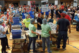 More than 2,000 volunteers packed more than 600,000 meals Nov. 17-19 to provide food for people in Katy, Kentucky and Haiti. This group of volunteers was based at Westland Baptist Church.