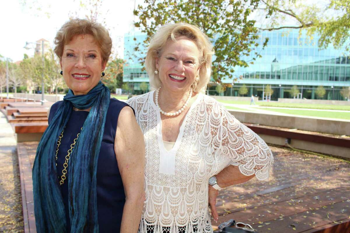 Sharon Gillen of Meyerland and Claire Sinclair ofRiverside Terracevisit the San Jacinto Memorial Green. The public is invited to the grand opening of the space, 10 a.m., Saturday, Dec. 3, at HCC Central, 1300 Holman St. in Midtown.