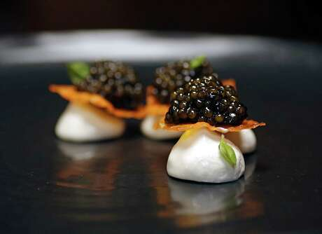 The Caviar Semifreddo, Petrossian Kaluga Caviar, Crisp Yam, Basil Semifreddo at Tony's Oct. 25, 2016, in Houston. ( James Nielsen / Houston Chronicle )