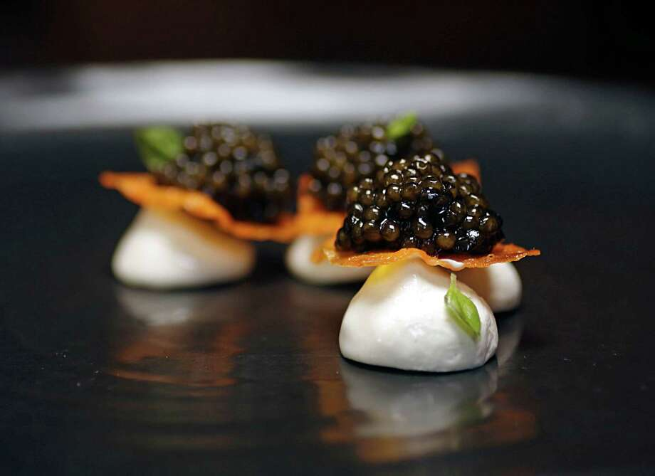 The Caviar Semifreddo at Tony's features Petrossian Kaluga caviar, yam crisp and basil semifreddo. Photo: James Nielsen, Staff / © 2016  Houston Chronicle