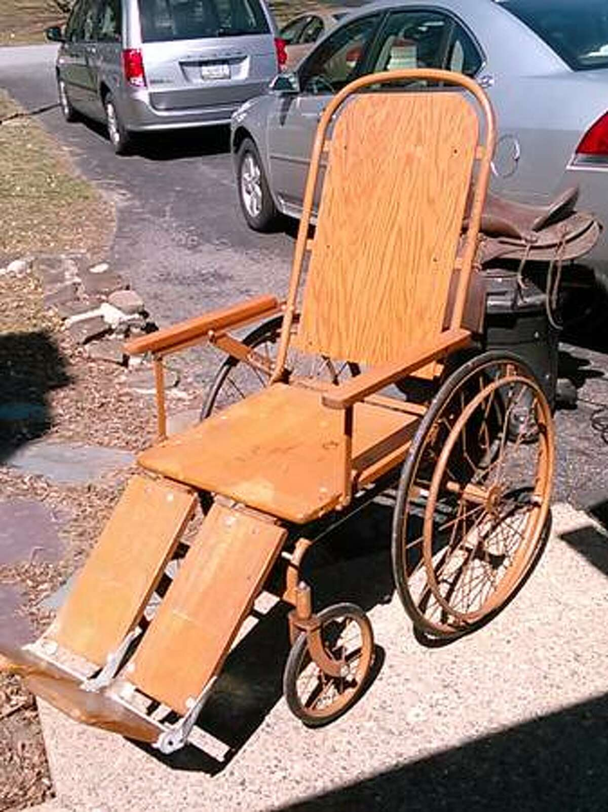 Colson antique wheelchair - $150. From the listing: Used in a couple plays at Proctors. Very good condition. See the listing.