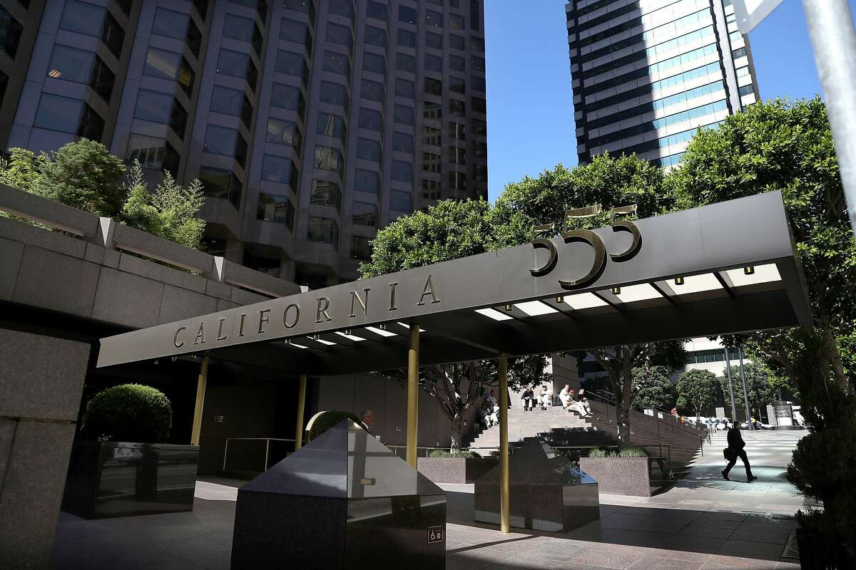 SAN FRANCISCO, CA - JUNE 28: A view of 555 California on June 28, 2016 in San Francisco, California. An employee on the building's 23rd floor tested positive for COVID-19.