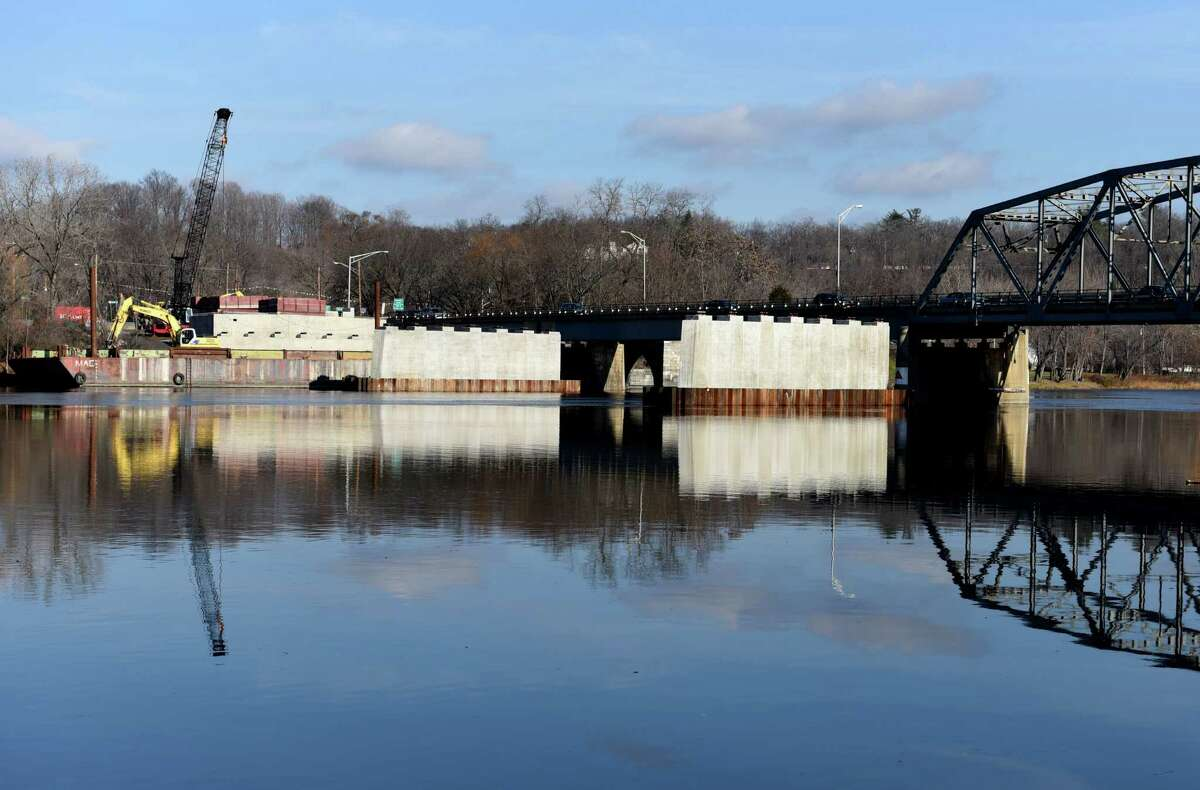 Piers for the new Rexford Bridge are in place on the Mohawk River on Monday, Nov. 28, 2016, in Niskayuna, N.Y. The $33 million state Department of Transportation project on Balltown Road is expected to be competed late next year. (Will Waldron/Times Union)