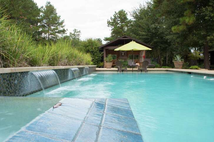 The saltwater pool at Deer Lake Lodge in Montgomery provides a place to relax in the sunlight during a weekend stay.